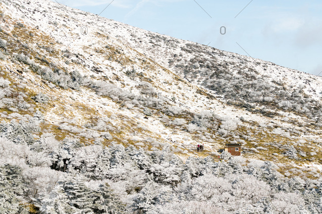 Hut on snowy slopes of Hallasan on Jeju Island