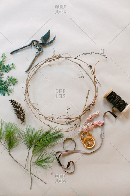 Supplies for a holiday wreath