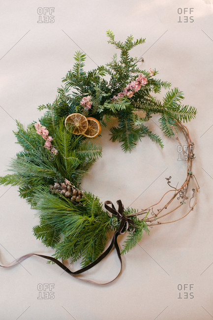 Holiday wreath with pine branches