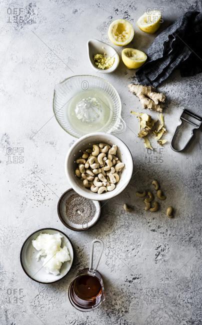 Ingredients for vegan gluten-free fig tart