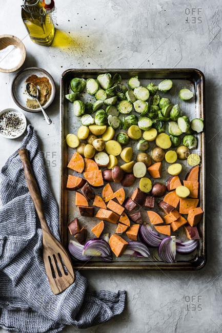 Fresh vegetables for Mexican roasted fall veggie bowls