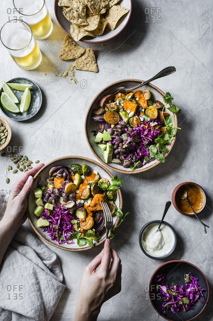 Mexican roasted fall veggie bowls