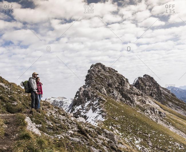 Germany- Bavaria- Oberstdorf- two hikers in alpine scenery