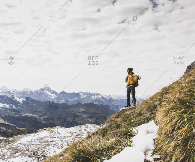 Germany- Bavaria- Oberstdorf- hiker in alpine scenery