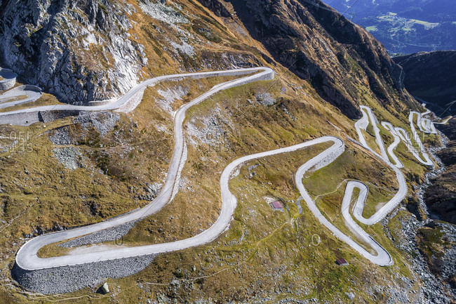 Switzerland- Tessin- Tremola- Aerial view of Gotthard Pass