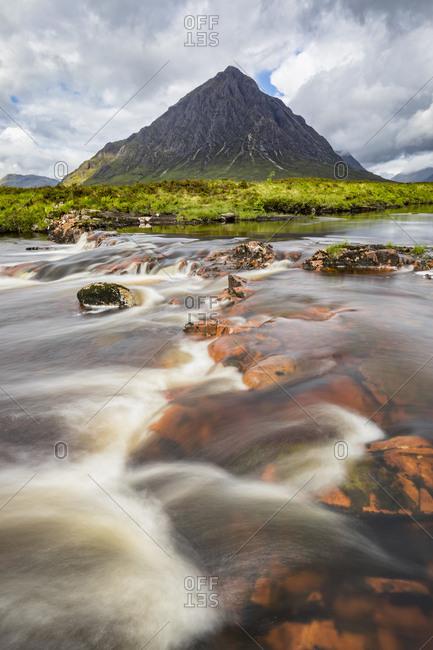 Great Britain- Scotland- Scottish Highlands- Glen Coe- Etive Mor- Glen Etive- River Etive-  Mountain massif Buachaille Etive Mor with Mountain Stob Dearg