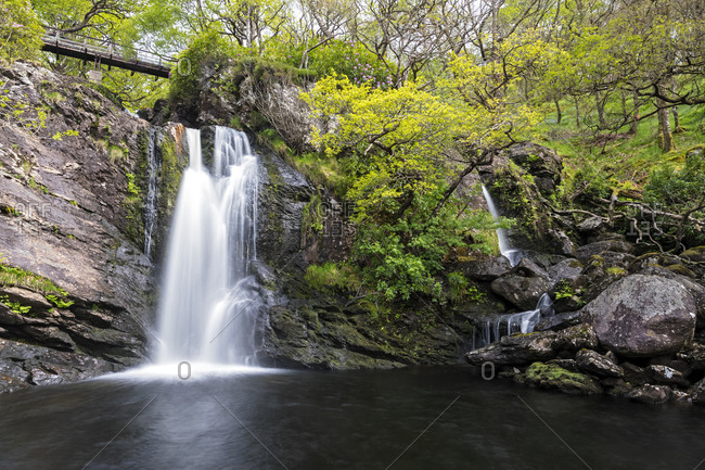 Great Britain- Scotland- Scottish Highlands- Loch Lomond- Trossachs- Waterfall of Inversnaid