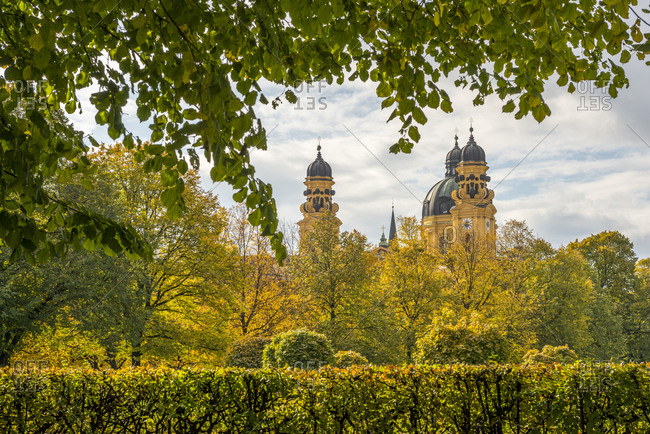 Germany- Bavaria- Munich- Theatine Church in autumn