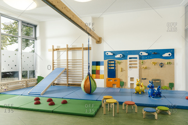 Empty gym room in kindergarten