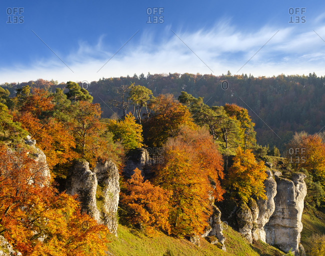 Germany- Bavaria- Franconia- Central Franconia- Altmuehl Valley- near Solnhofen- Rock formation Twelve Apostles- Altmuehl river in autumn
