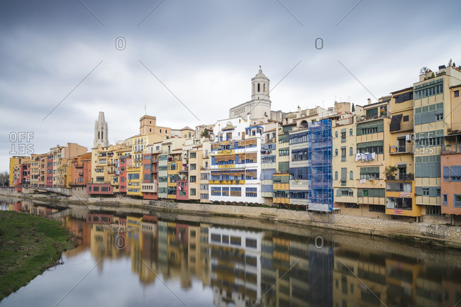 Spain- Girona- colorful houses in old town