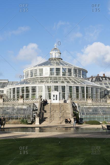 Copenhagen, Denmark - November 11, 2017: Exterior entrance of large glass greenhouse