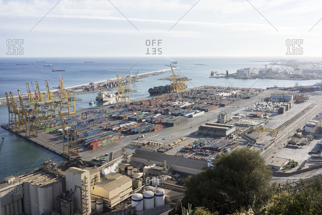Barcelona, Spain - January 2, 2016: View of the industrial Port of Barcelona