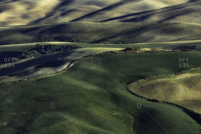 Val d'Orcia, Orcia valley, Tuscany, Italy - October 30, 2016: Fields hills