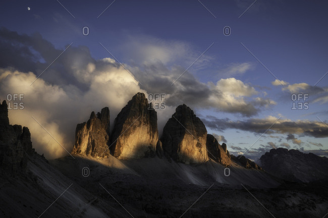 Tre cime di Lavaredo painted by sunlight, dolomites, South Tyrol, Italy