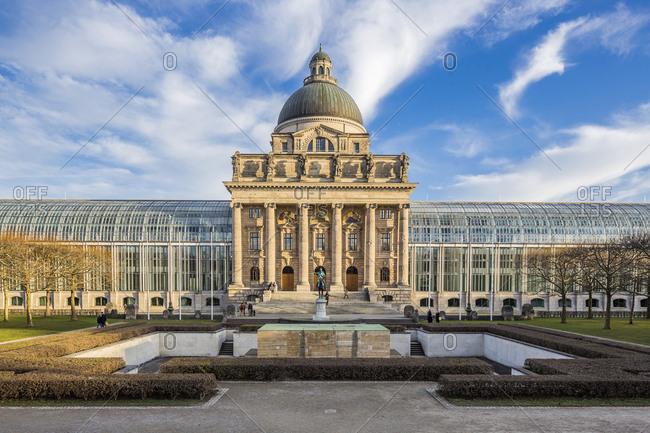 Munich, Germany - December 22, 2016: View of Bayerische Staatskanzlei, Bavarian State Chancellery building (the former Bayerische Armeemuseum, Bavarian Army museum)