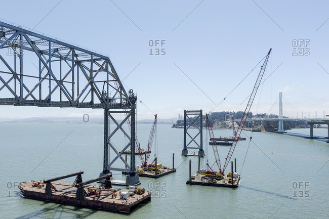 San Francisco, CA - July 5, 2016: Deconstruction of the Oakland Bay Bridge