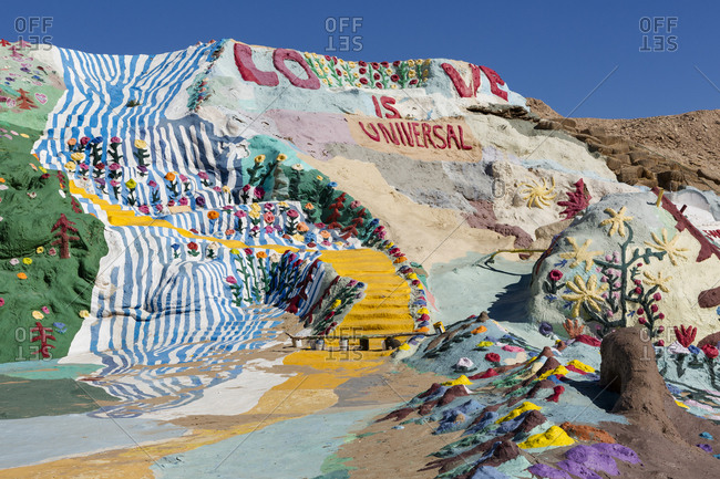Slab City, CA - January 30, 2017: Salvation Mountain art installation