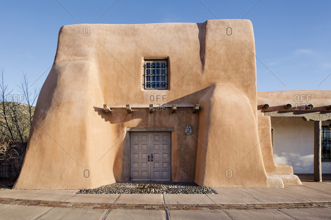 Santa Fe, NM - February 21, 2017: Pueblo style architecture of the Museum of Indian Arts & Culture in Santa Fe, New Mexico