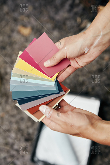 A person holding a paint color chart, and a paint tray and roller in the background