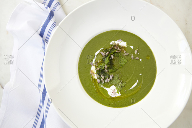 Bowl of nettle soup in a white soup plate with a tea towel lying alongside