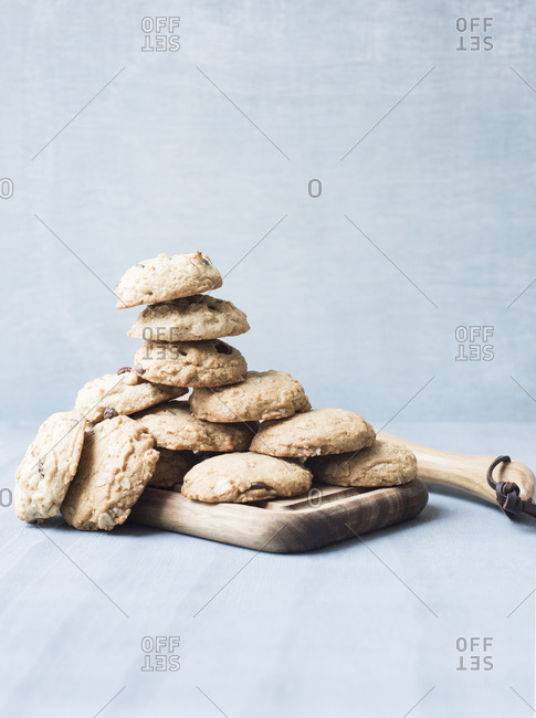 Healthy cookies on a wooden board