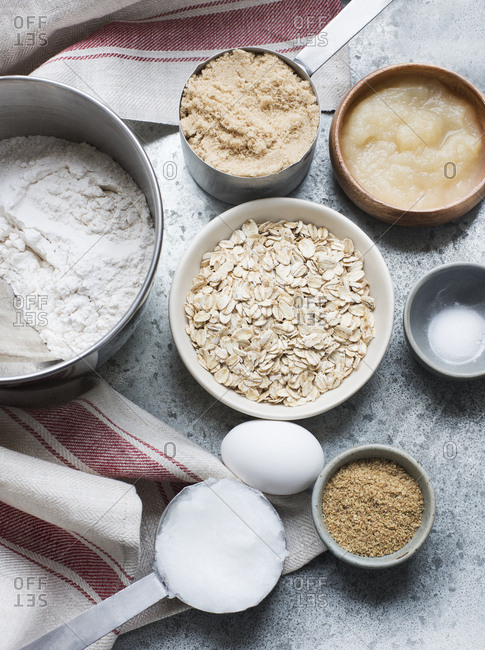 Ingredients for baking on a table