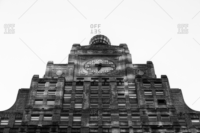 New York City, New York, USA - June 8, 2016: Clock tower on the Paramount Building