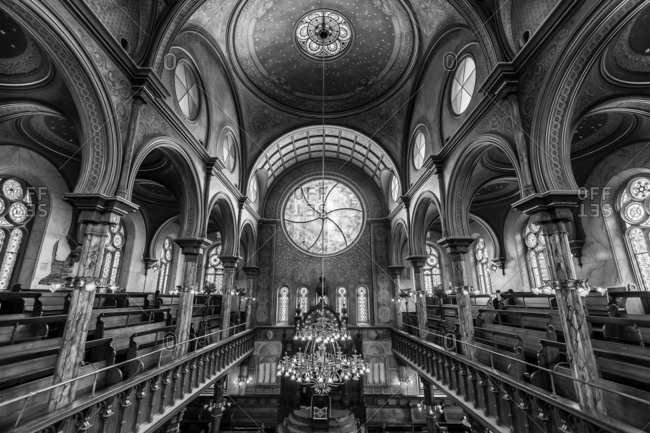 New York City, New York, USA - June 27, 2016: Interior of the Eldridge Street Synagogue