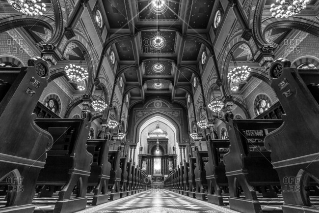 New York City, New York, USA - July 6, 2016: Interior of the Central Synagogue in Manhattan