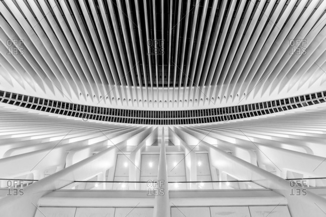 New York City, New York, USA - August 15, 2016: Interior detail of the World Trade Center Transportation Hub