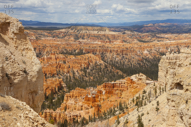Looking out over�a landscape of canyons and rock formations