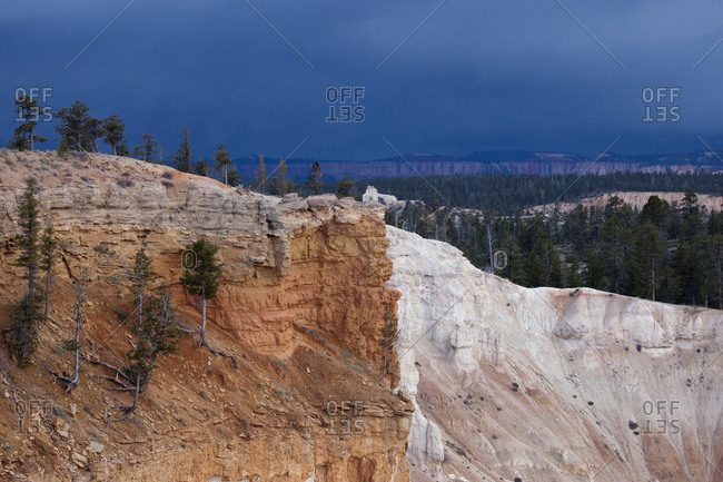 View of a ridge line where two different colors of rock meet
