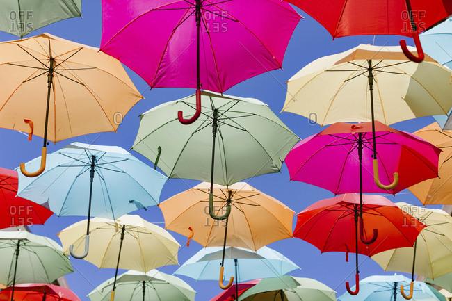 Umbrellas hanging in rows
