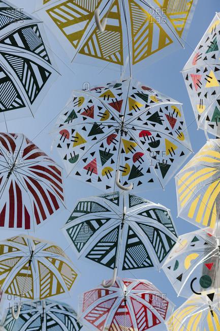Umbrellas hanging overhead