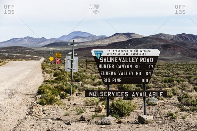 Death Valley, California, USA - April 25, 2017: Sign reading Saline Valley Road, Death Valley, California, USA