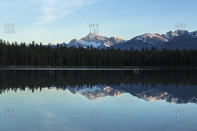 The snow capped Canadian Rockies are reflected in Annette Lake at dusk in Japser National Park, Alberta, Canada.