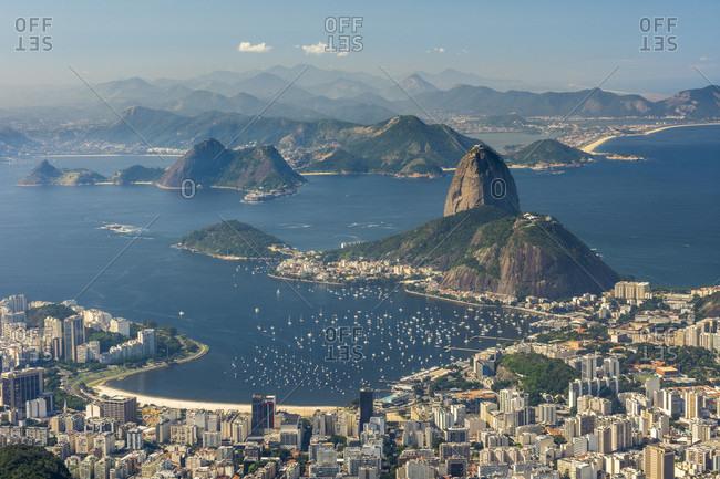 Pao de Acucar mountain seen from Cristo Redentor statue on top of Morro do Corcovado, Rio de Janeiro, Brazil