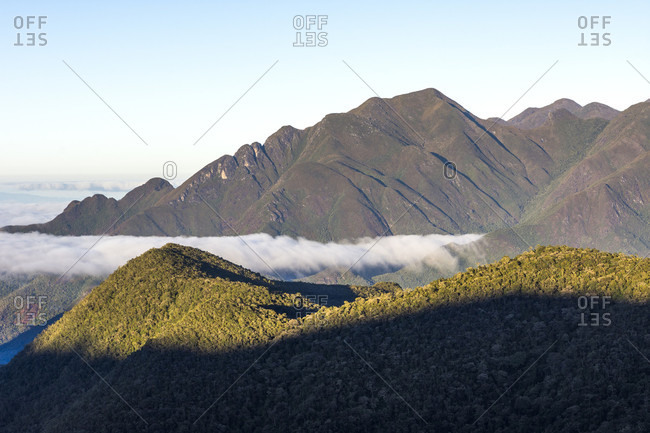 Majestic natural scenery of mountains of Serra Fina, Itatiaia National Park, Mantiqueira Mountains, Rio de Janeiro State, Brazil