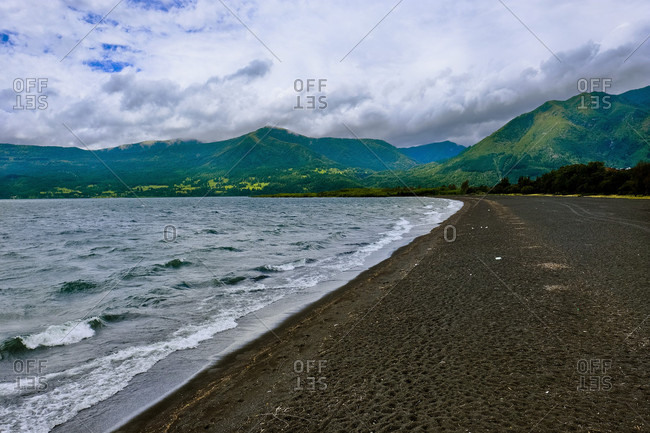 Beautiful natural scenery with shore of Lake Villarrica, Pucon, Araucania Region, Chile