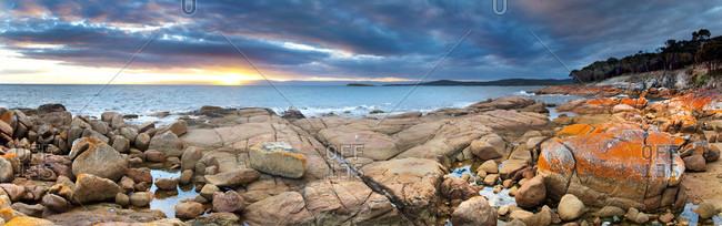 Panoramic landscape with colorful granite rocks on coastline of Coles Bay, Freycinet Peninsula, Tasmania, Australia