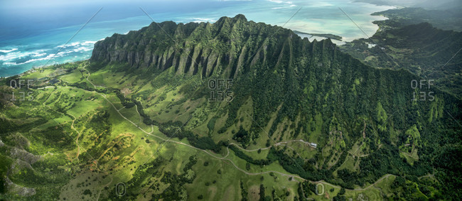 Aerial view of Kualoa Ridge and Jurassic Valley, on South East tip of Oahu, Hawaii, USA