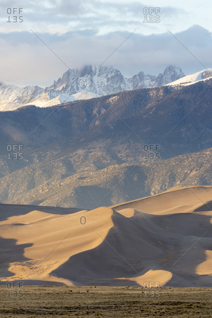 Sand dunes of Great Sand Dunes National Park against Crestones, Alamosa, Colorado, USA