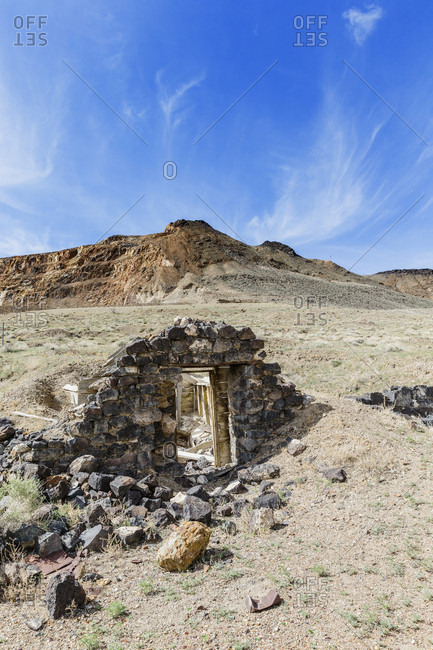 Remains of old stone building in ghost town of Candelaria, Mineral County, Nevada, USA