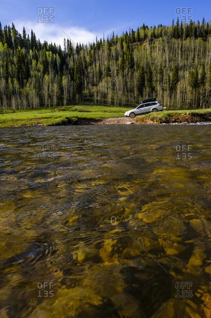 POV of river crossing with Subaru Outback, Durango, USA