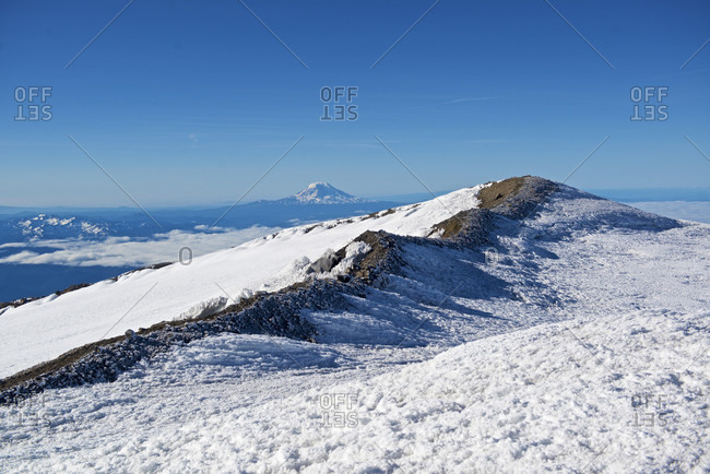 Beautiful natural scenery of Liberty Cap and Mount Hood at summit of Mount Rainier, Mount Rainier National Park, Washington State, USA