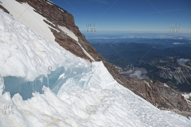 Large crevasse on Emmons-Winthrop Glacier route on Mount Rainer, Mount Rainier National Park, Washington State, USA