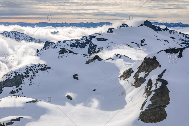 Majestic landscape with snow-covered mountains, Mount Rainier National Park, Washington State, USA