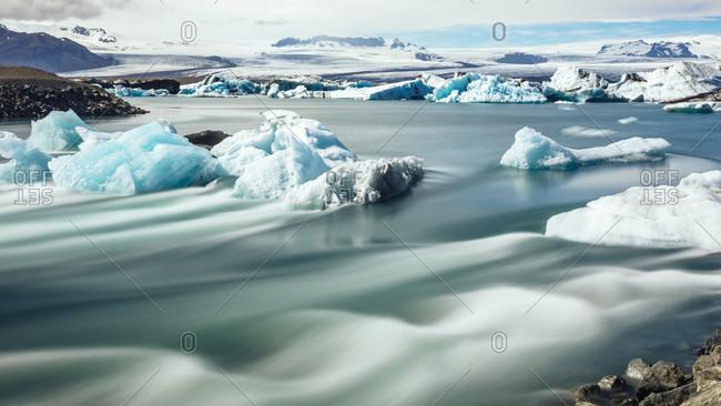 Beautiful polar scenery of Jokulsarlon glacial lagoon, Iceland