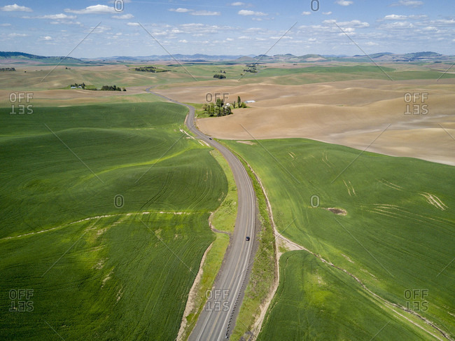 Beautiful aerial view of scenery with rolling hills and road, Pullman, Palouse, Washington State, USA